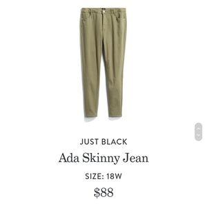 Just Black Stitch Fix olive jeans, 18
